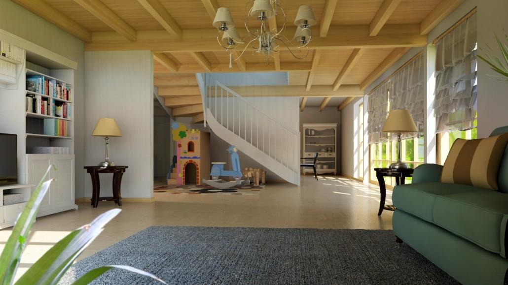 Visualisierung Innenaufnahme auf die Lounge und den Treppenraum in klassischem Design
