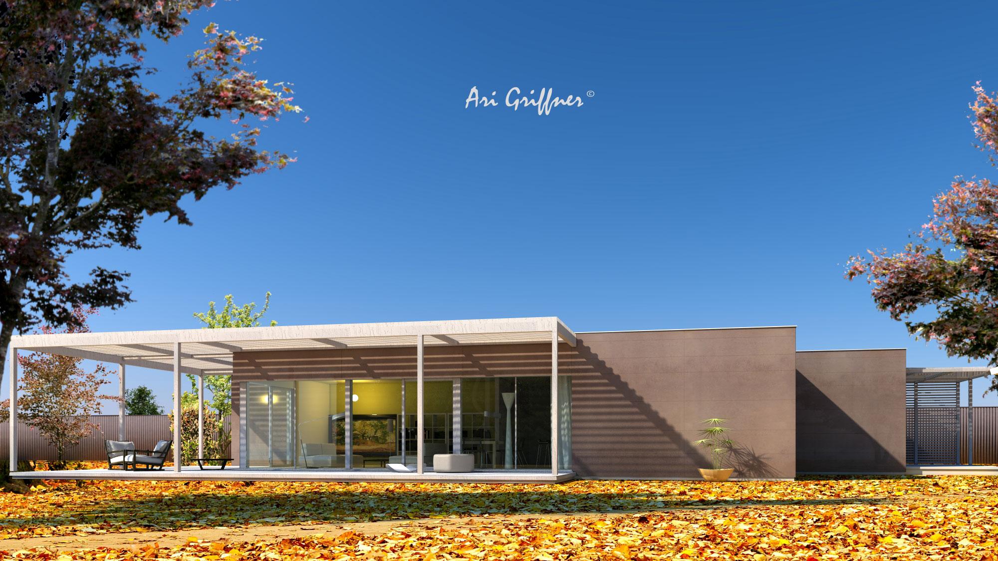 Rendering Terrassenhaus in modernem Design mit Flachdach und asymmetrischer Fensteranordnung