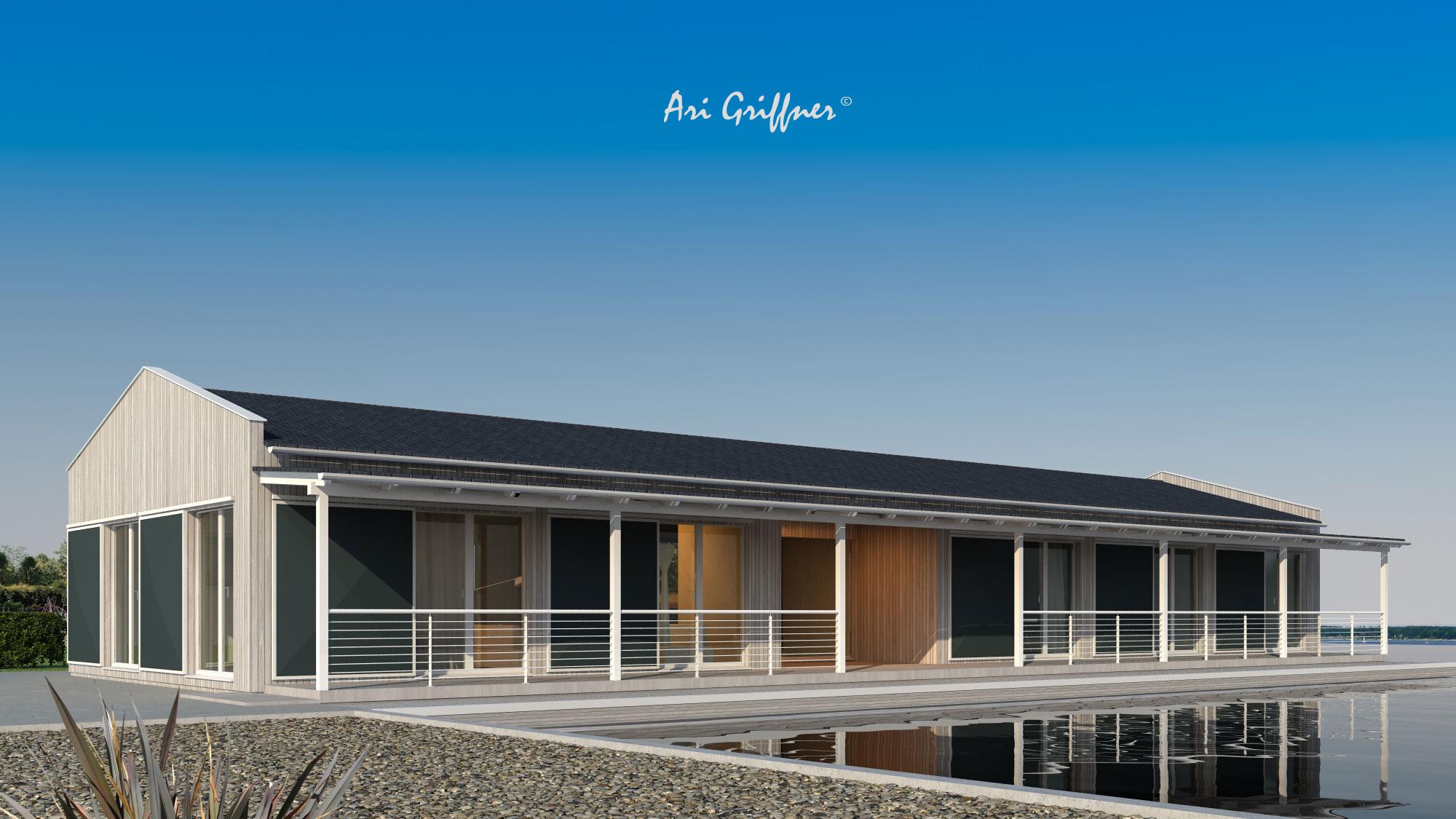 Rendering Long House in klassich-modernem Design mit Satteldach und symmetrischer Fensteranordnung