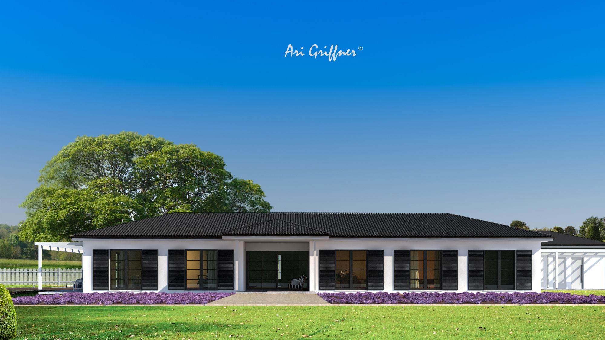 Rendering Long House in klassischem Design mit Walmdach und symmetrischer Fensteranordnung