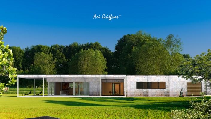 Rendering Long House in modernem Design mit Flachdach und asymmetrischer Fensteranordnung
