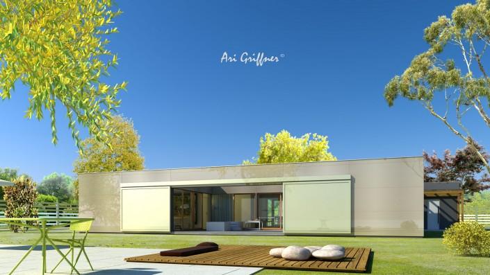 Rendering Atrium One in modernem Design mit Flachdach und zentraler Fensteranordnung