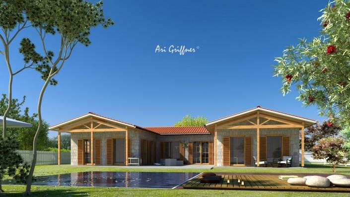 Rendering Atrium One in klassischem Design mit Satteldach und symmetrischer Fensteranordnung