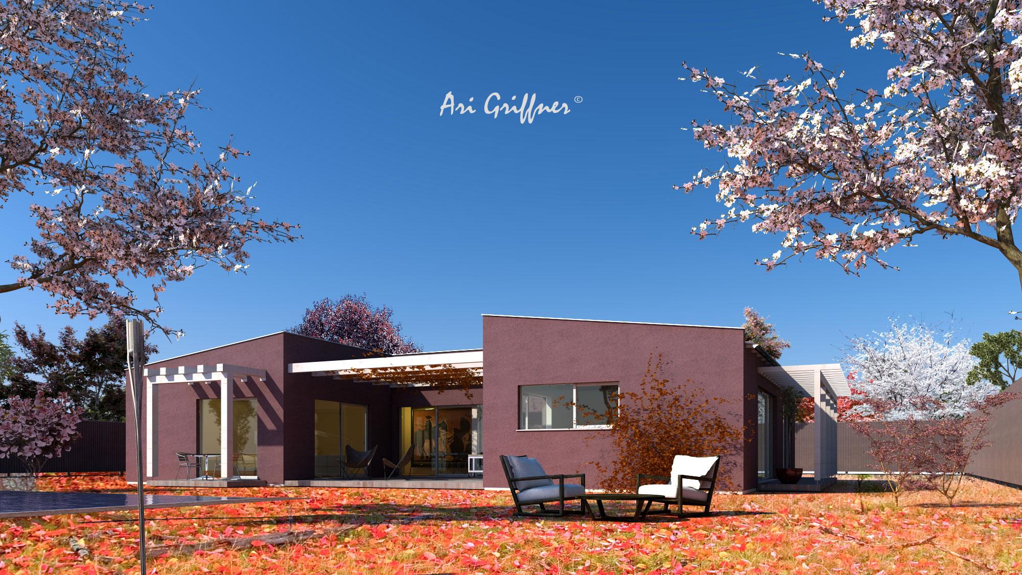Rendering Atrium One in modernem Design mit Pultdach und asymmetrischer Fensteranordnung