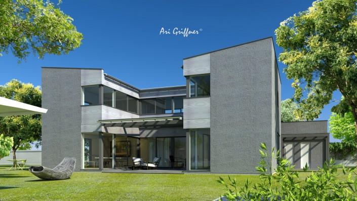 Rendering Atrium Two in modernem Design mit Pultdach und Eckfenstern