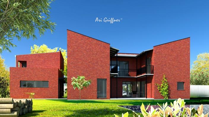 Rendering Atrium Two in modernem Design mit Pultdach und asymmetrischer Fensteranordnung