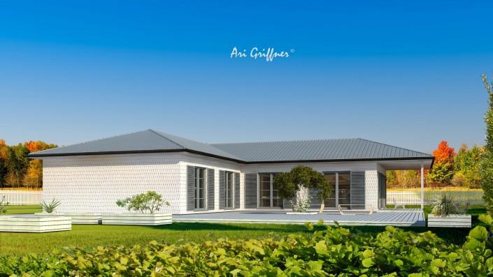 Rendering Hofhaus One in klassischem Design mit Walmdach und symmetrischer Fensteranordnung