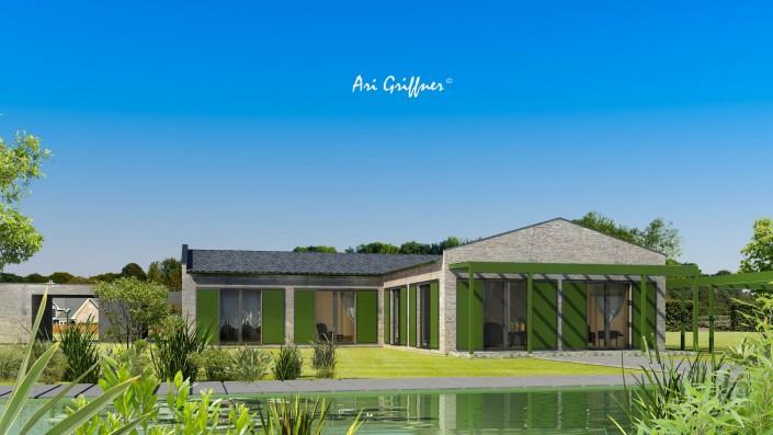 Rendering Hofhaus One in klassisch-modernem Design mit Satteldach und symmetrischer Fensteranordnung