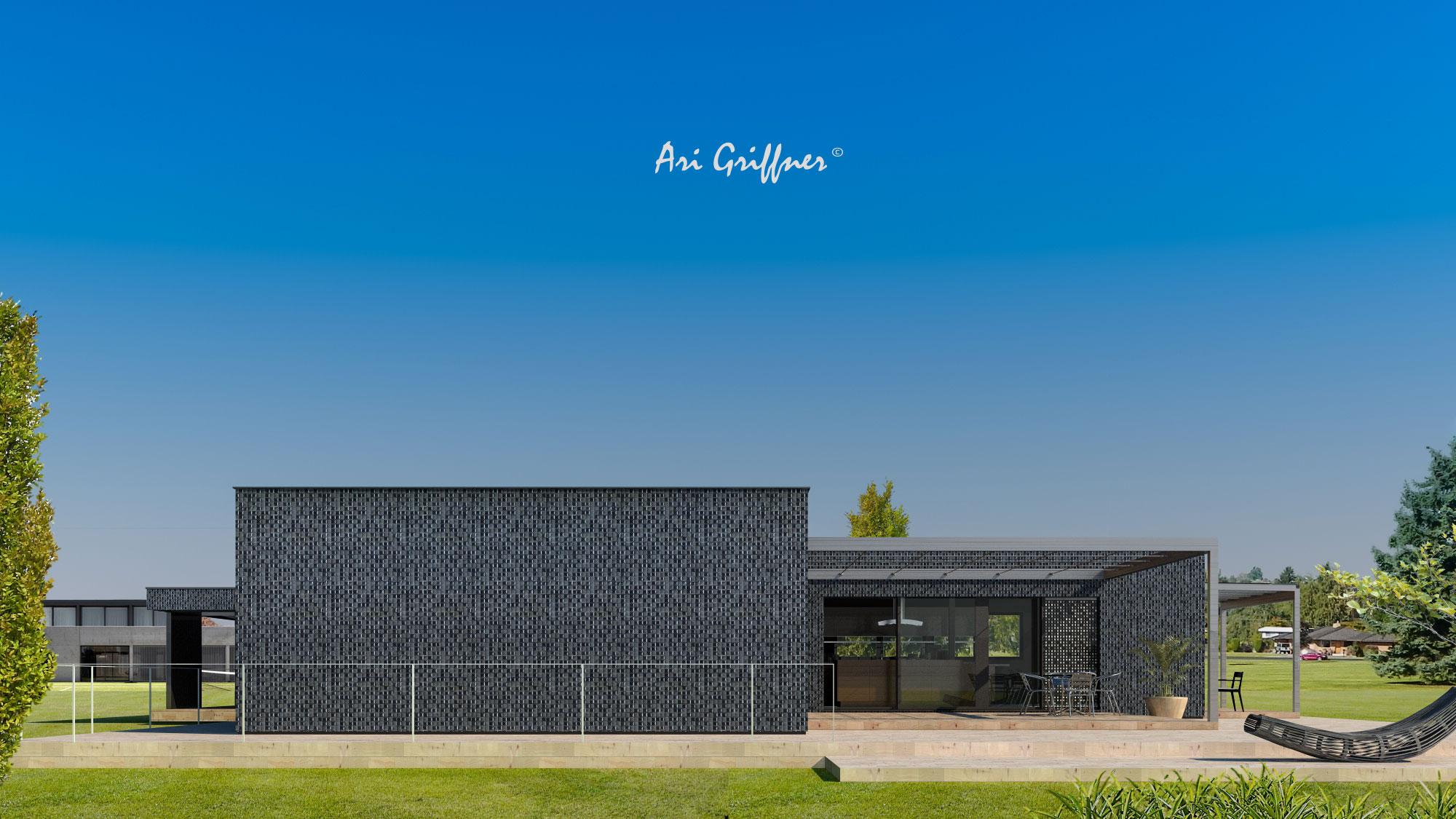 Rendering Hofhaus One in modernem Design mit Flachdach und zentraler Fensteranordnung