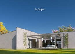 Rendering Hofhaus One in modernem Design mit Pultdach und zentraler Fensteranordnung