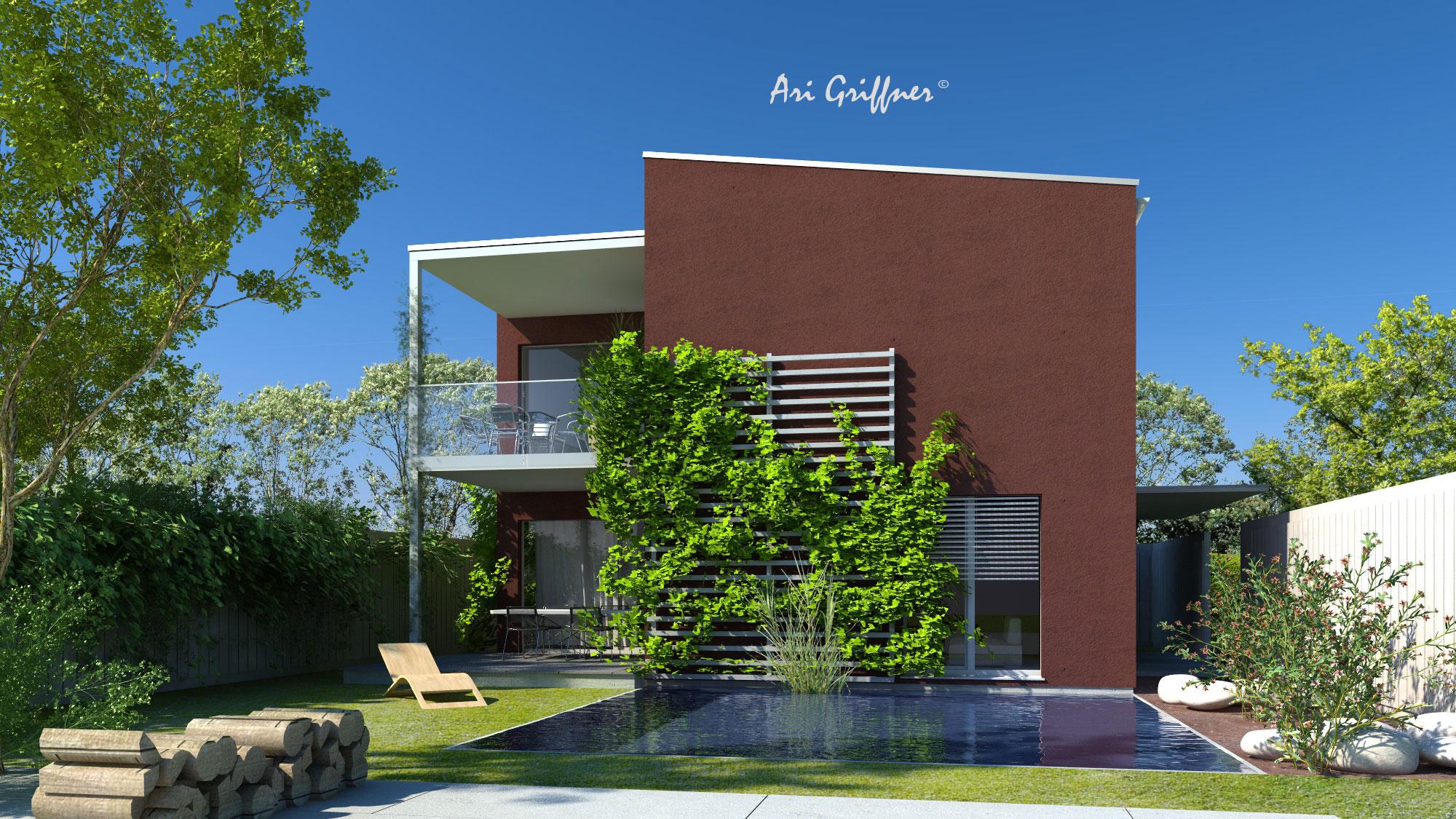 Rendering Hofhaus Two in modernem Design mit Pultdach und symmetrischer Fensteranordnung
