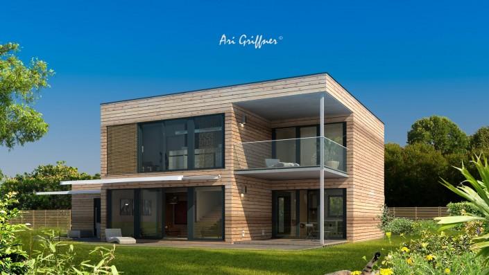 Rendering Hofhaus Two in modernem Design mit Flachdach und vollflächiger Fensteranordnung
