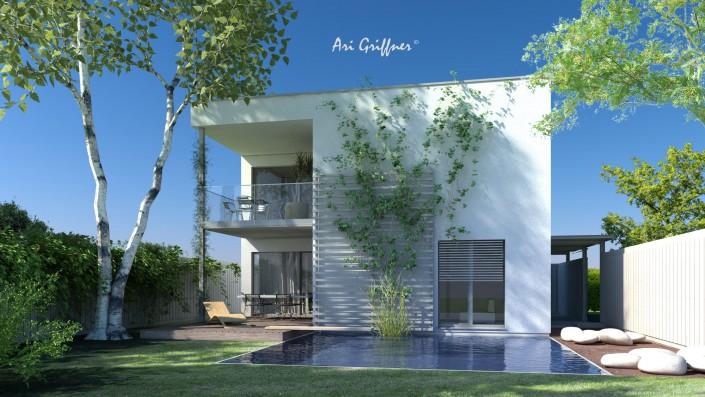 Rendering Hofhaus Two in modernem Design mit Flachdach und symmetrischer Fensteranordnung