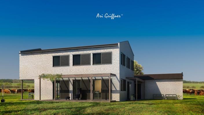 Rendering Long House 180° in klassisch-modernem Design mit Satteldach und symmetrischer Fensteranordnung
