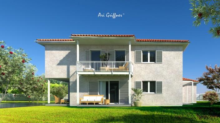 Rendering Long House 180° in klassischem Design mit Walmdach und symmetrischer Fensteranordnung
