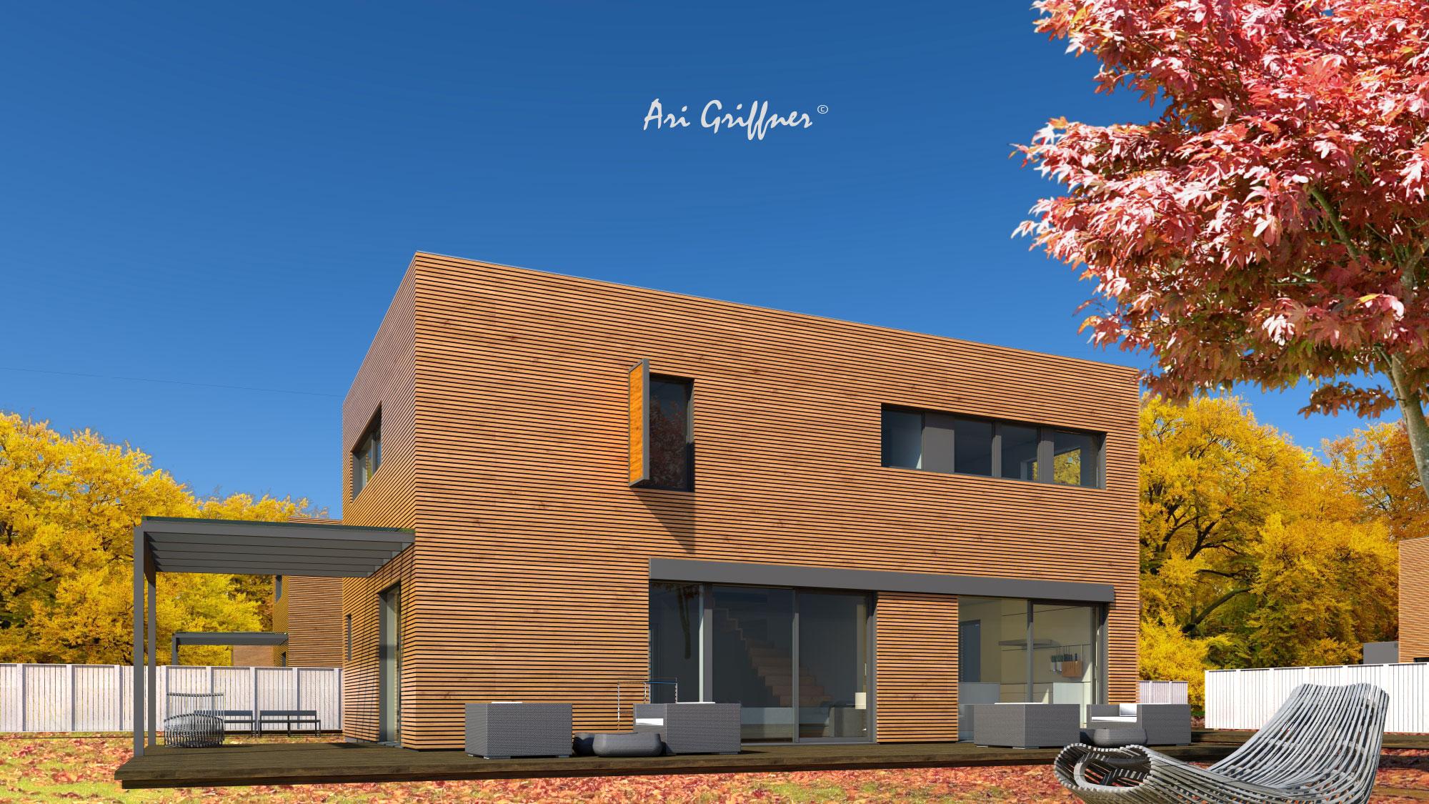 Rendering Long House 90° in modernem Design mit Flachdach und asymmetrischer Fensteranordnung