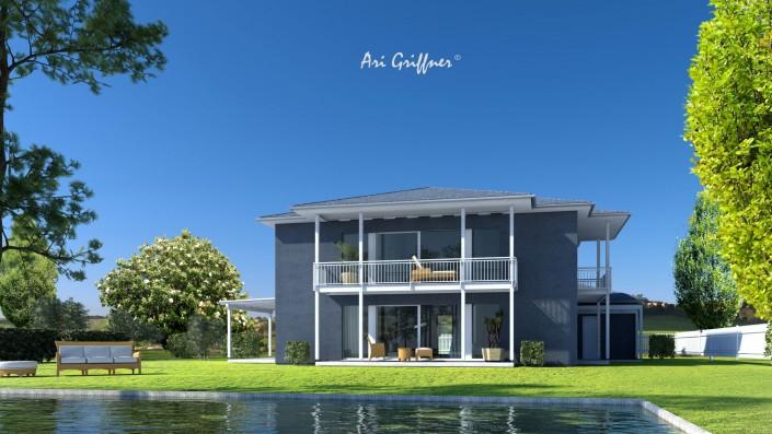 Rendering Long House 90° in klassischem Design mit Walmdach und zentraler Fensteranordnung