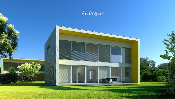 Rendering Long House 90° in modernem Design mit Flachdach und vollflächiger Fensteranordnung