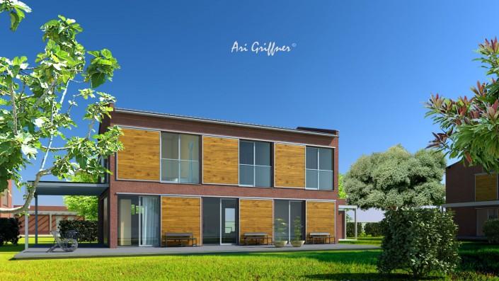 Long House 90° in klassisch-modernem Design mit Satteldach und symmetrischer Fensteranordnung