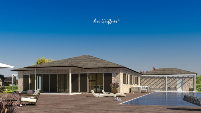 Rendering Square One in klassich-modernem Design mit Walmdach und symmetrischer Fensteranordnung