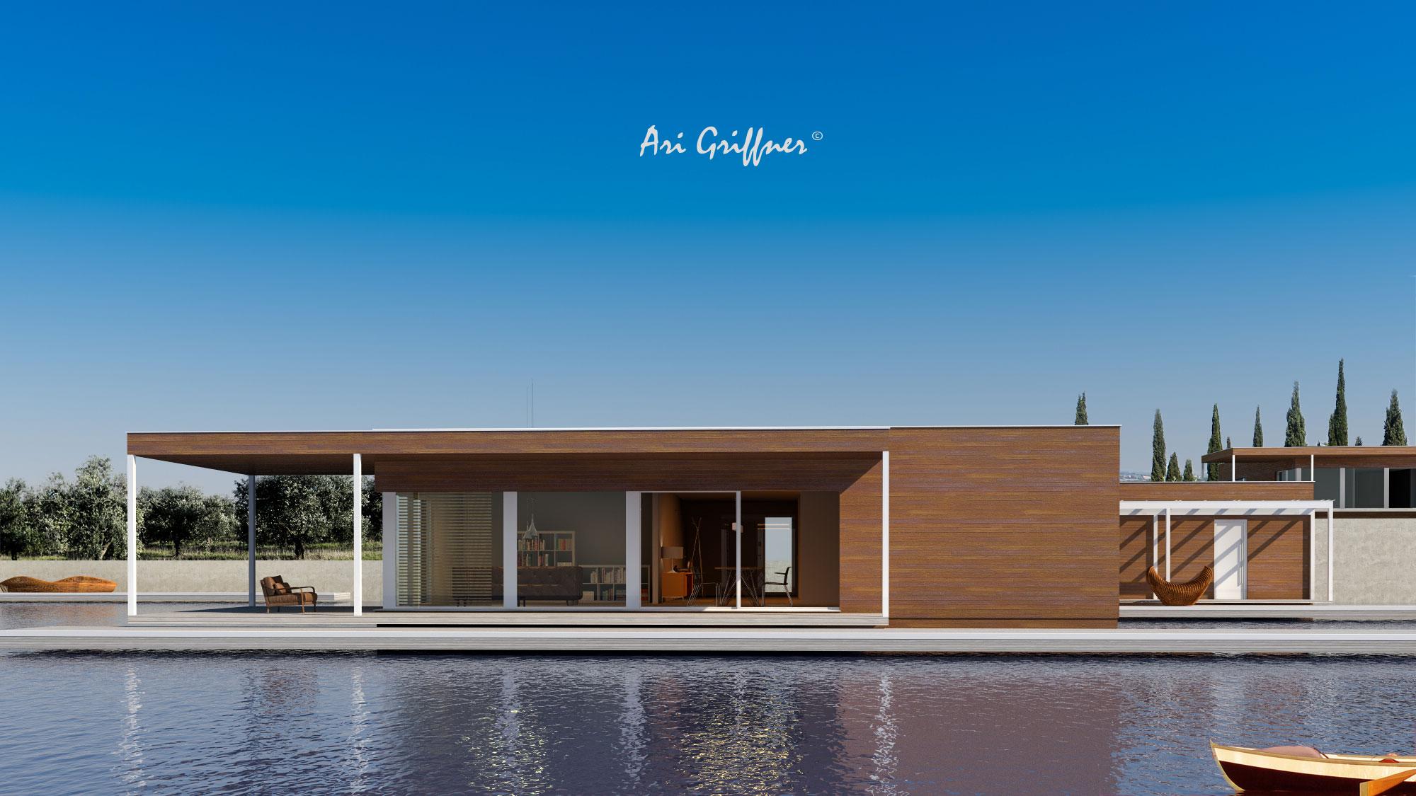 Rendering Square One in modernem Design mit Flachdach und asymmetrischer Fensteranordnung