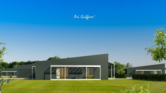 Rendering Square One in modernem Design mit Pultdach und zentraler Fensteranordnung