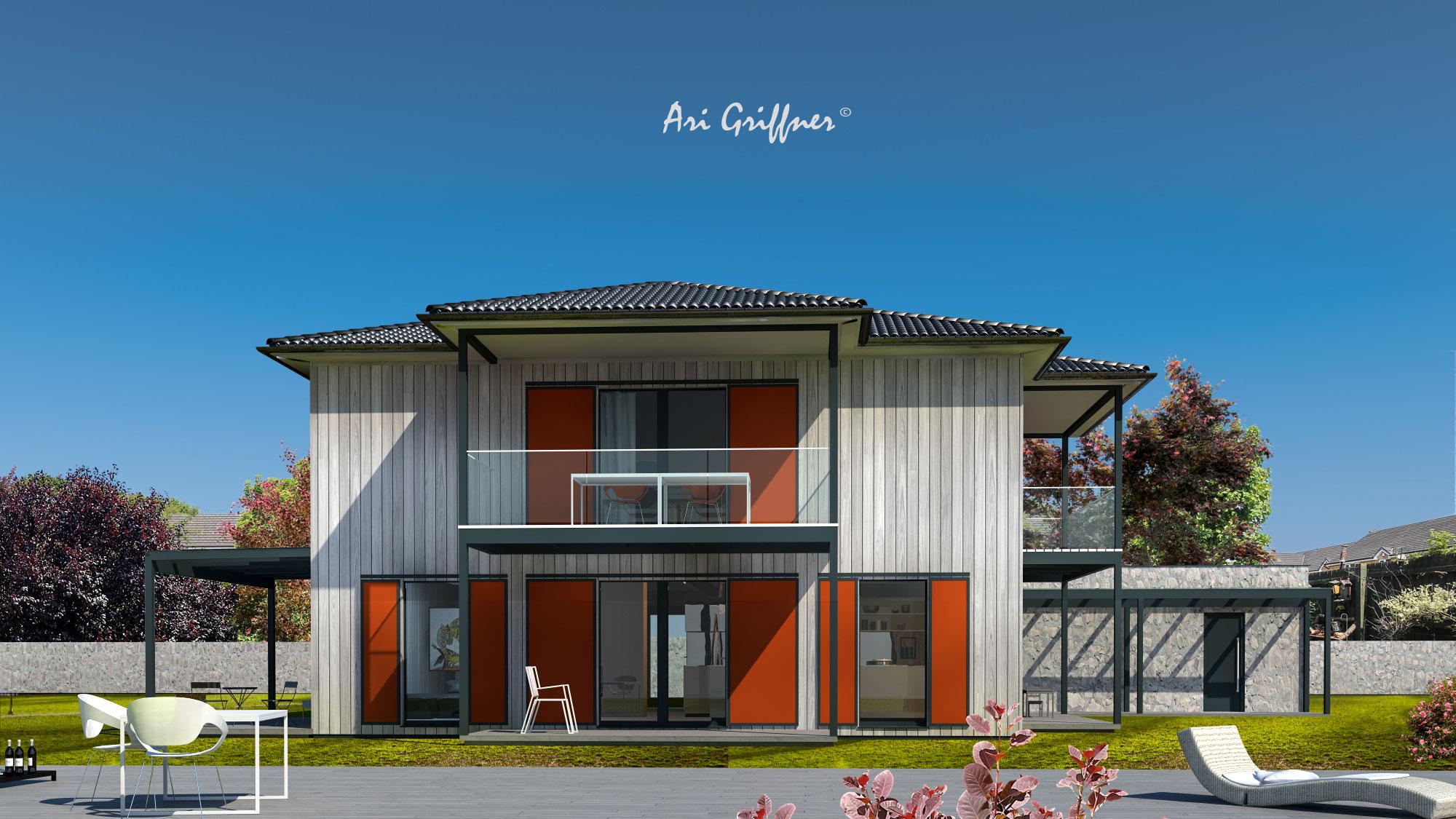Rendering Square Two in klassischem Design mit Walmdach und symmetrischer Fensteranordnung