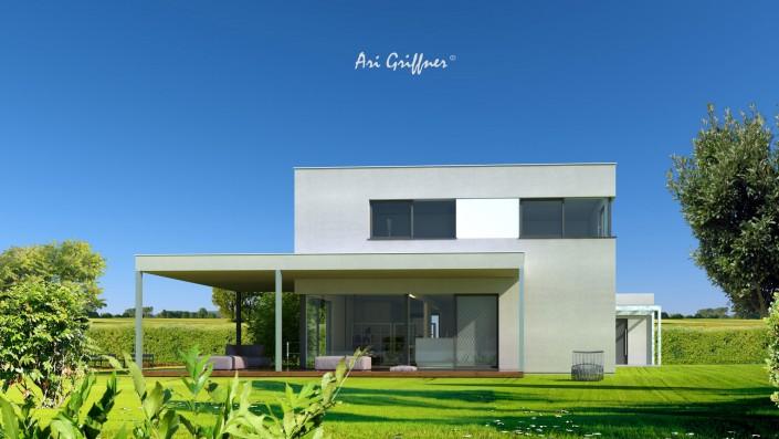 Rendering Square Two in modernem Design mit Flachdach und asymmetrischer Fensteranordnung