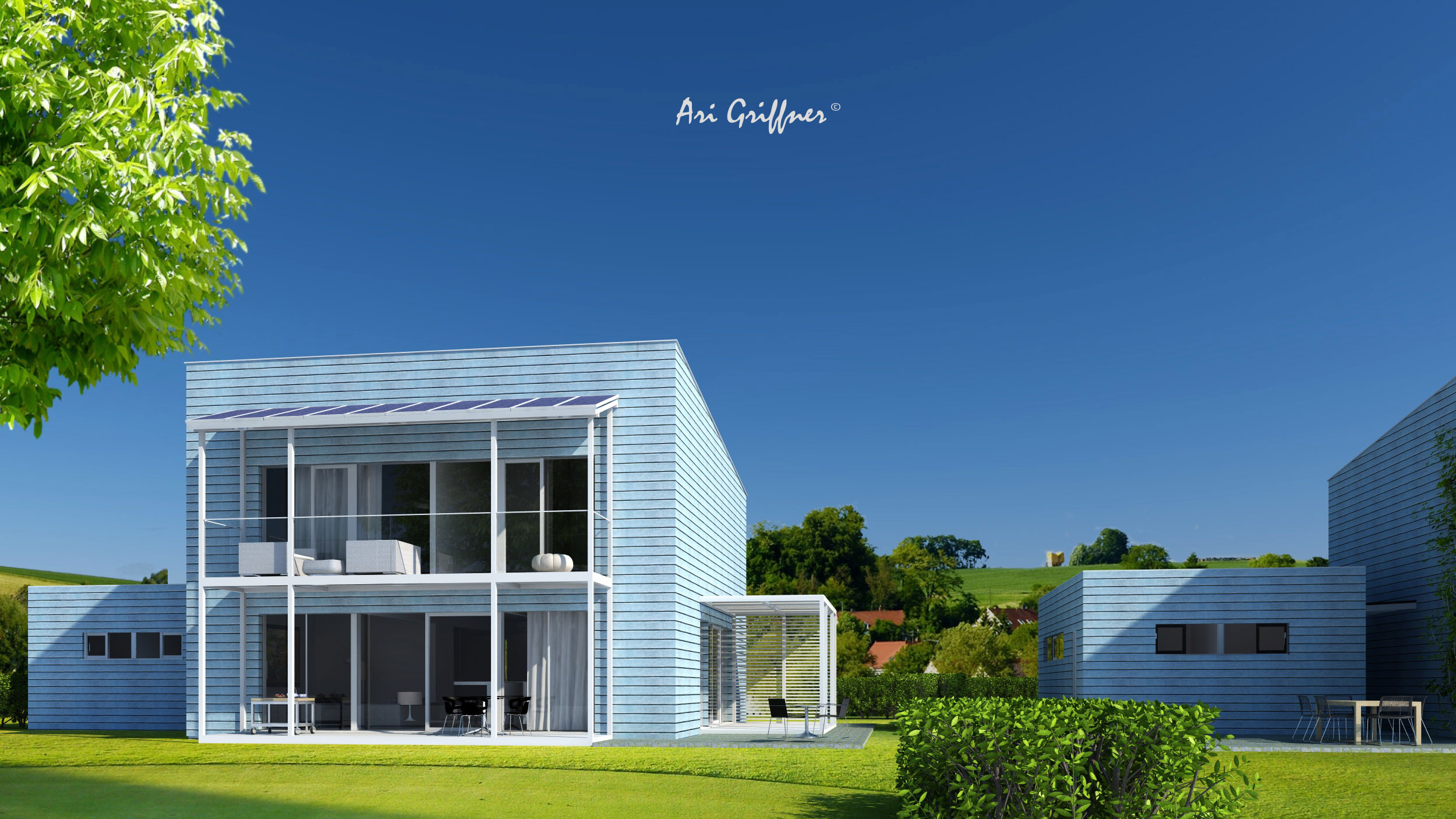 Rendering Square Two in modernem Design mit Pultdach und zentraler Fensteranordnung