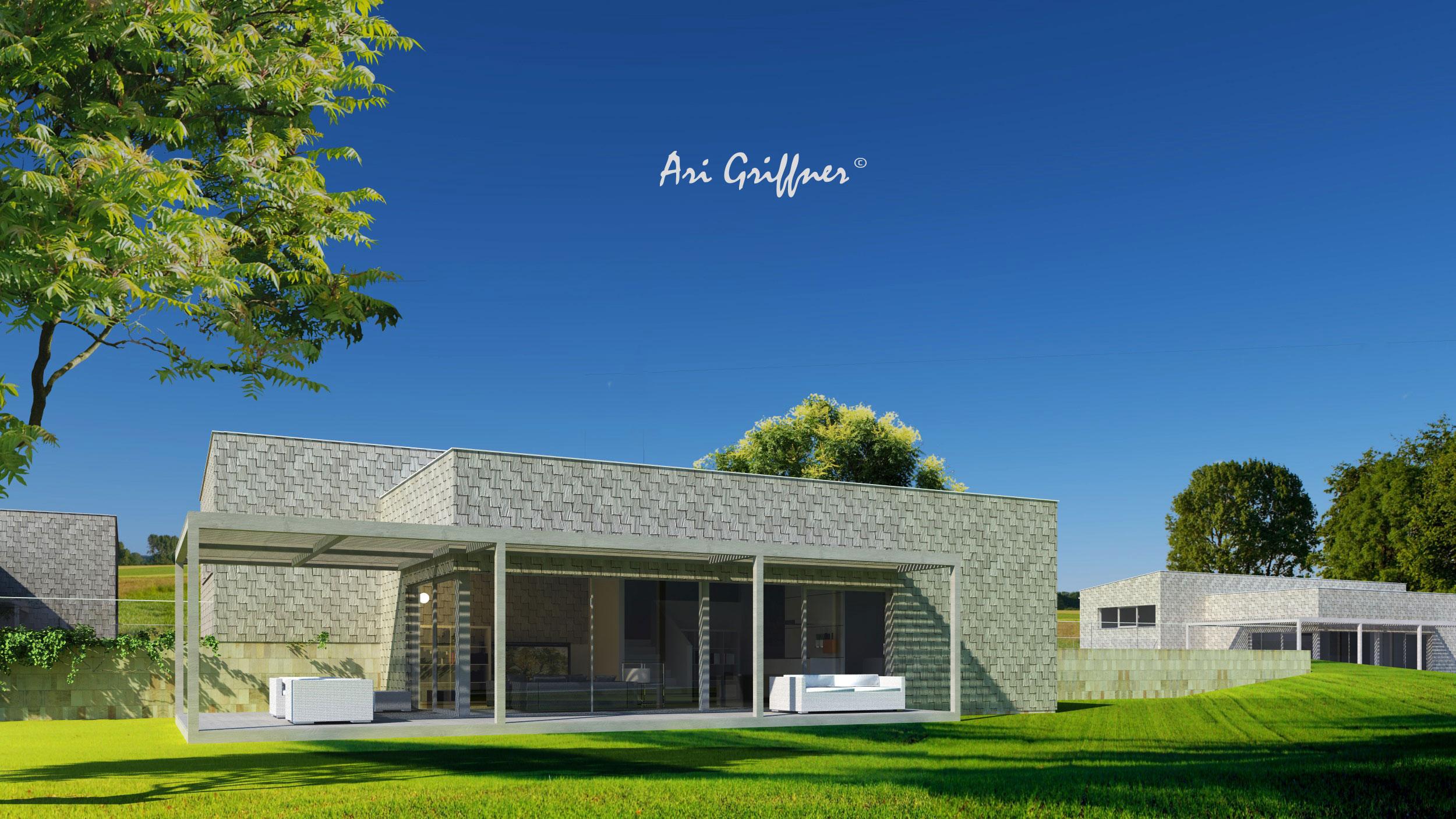 Rendering Split-Level One in modernem Design mit Flach-/Flachdach und asymmetrischer Fensteranordnung