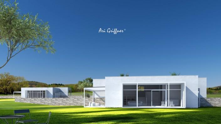 Rendering Split-Level One in modernem Design mit Flach-/Flachdach und zentraler Fensteranordnung