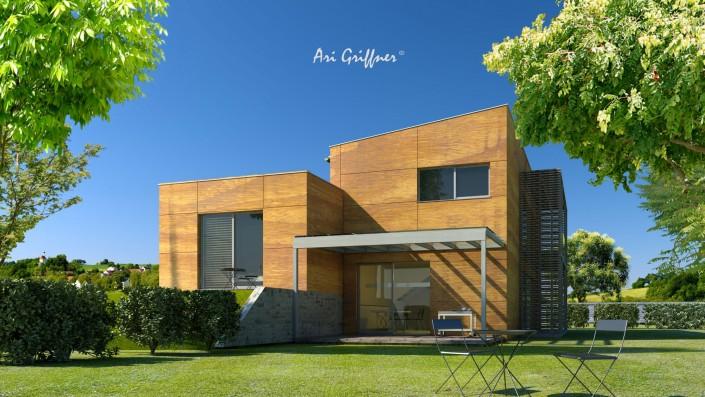 Rendering Split-Level Two in modernem Design mit Pult-/Flachdach und zentraler Fensteranordnung