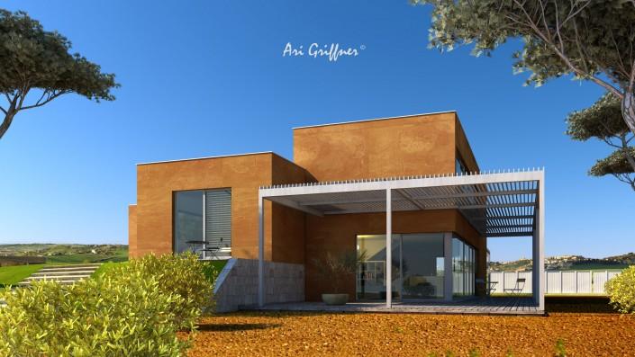 Rendering Split-Level Two in modernem Design mit Flach-/Flachdach und asymmetrischer Fensteranordnung