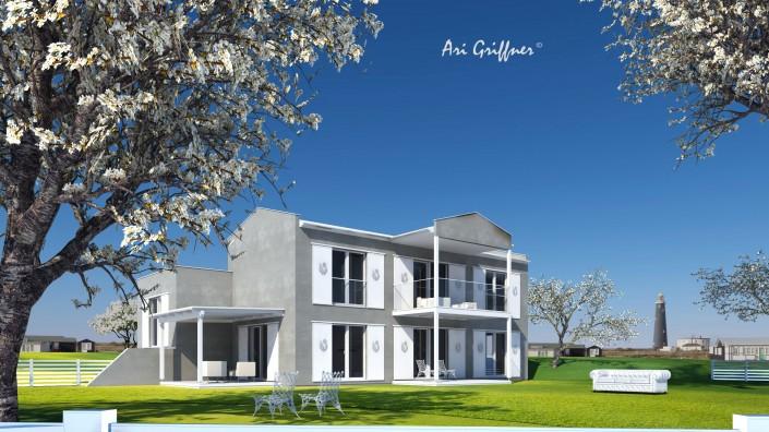 Rendering Split-Level Two in klassisch-modernem Design mit Sattel-/Flachdach und symmetrischer Fensteranordnung