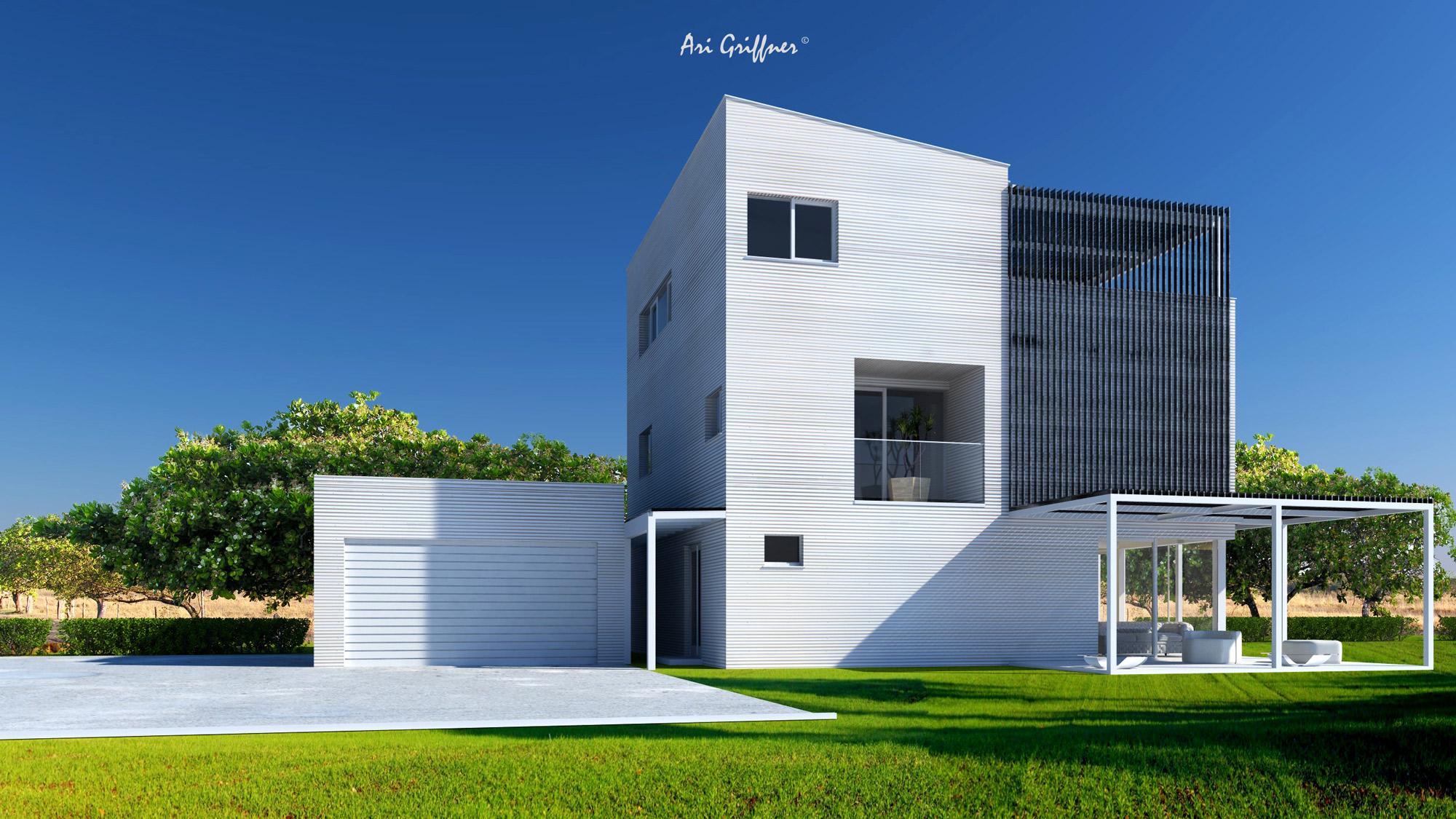 Rendering Special 01 in modernem Design mit Pultdach und asymmetrischer Fensteranordnung