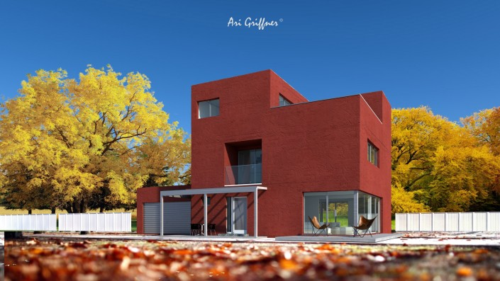 Rendering Special 04 in modernem Design mit Flachdach und asymmetrischer Fensteranordnung