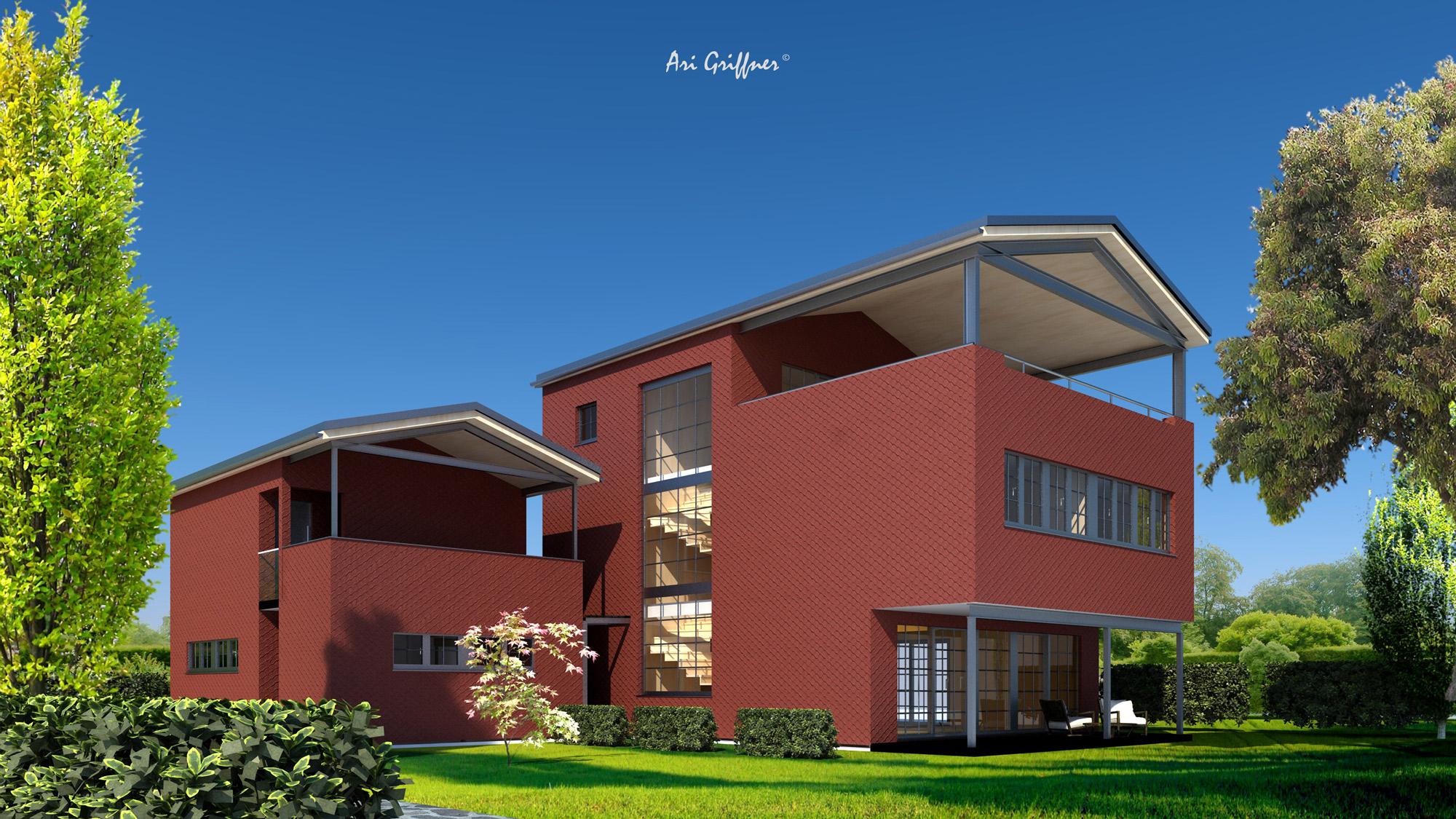 Rendering Special 05 in modernem Design mit Satteldach und asymmetrischer Fensteranordnung