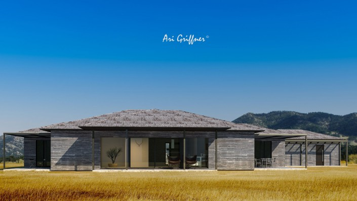 Rendering Terrassenhaus in klassisch-modernem Design mit Walmdach und zentraler Fensteranordnung