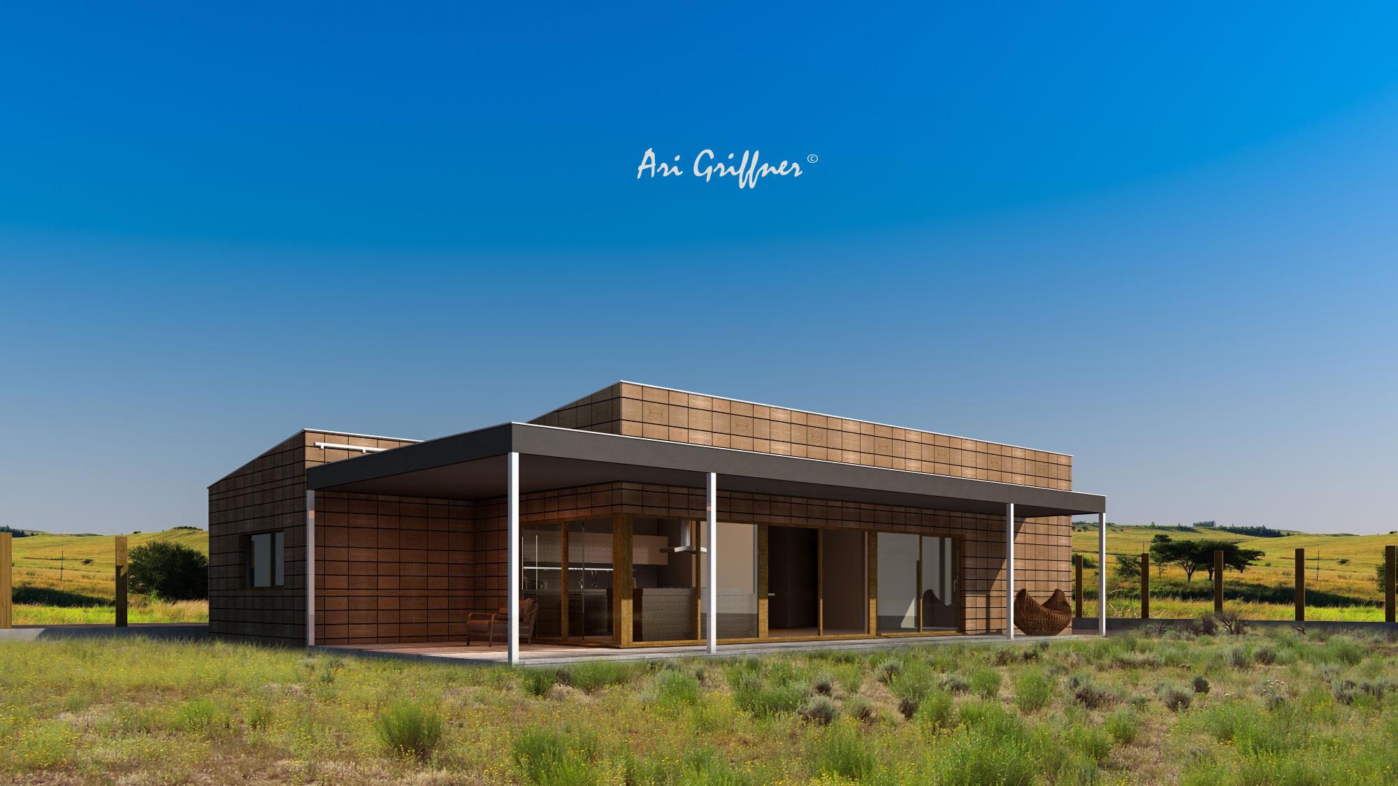 Rendering Terrassenhaus in modernem Design mit Pultdach und asymmetrischer Fensteranordnung