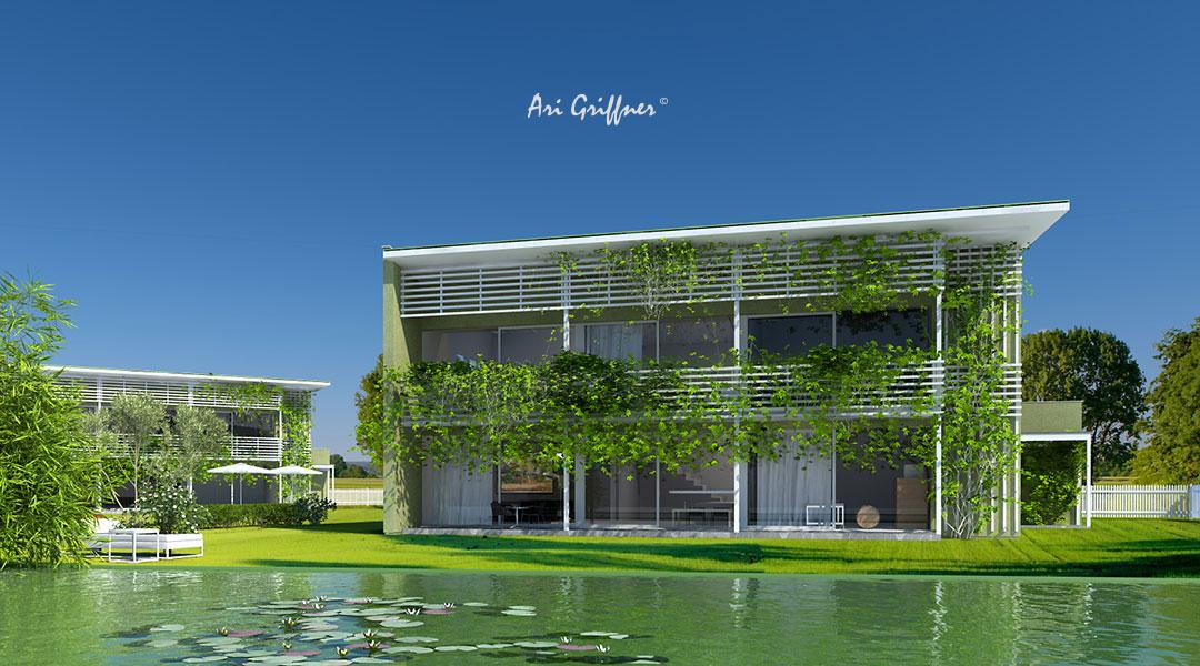 Special 11 Long House 90° in modernem Design mit Pultdach und vollflächiger Fensteranordnung
