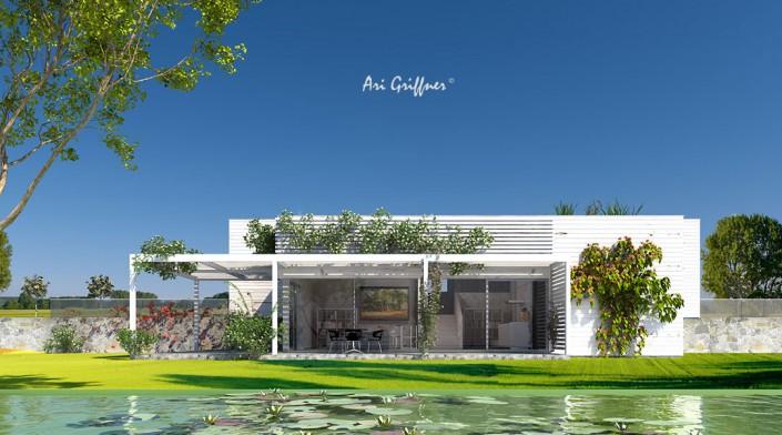 Rendering Special 12 Split Level One in modernem Design mit Flachdach und asymmetrischer Fensteranordnung
