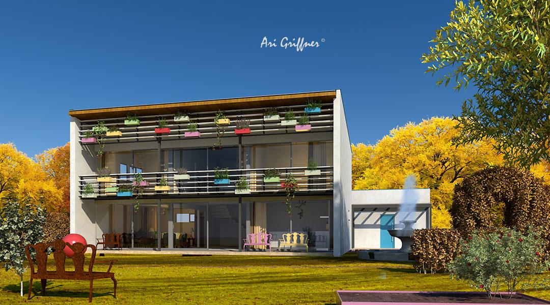 Rendering Special 13 Long House 90° in modernem Design mit Pultdach und vollflächiger Fensteranordnung