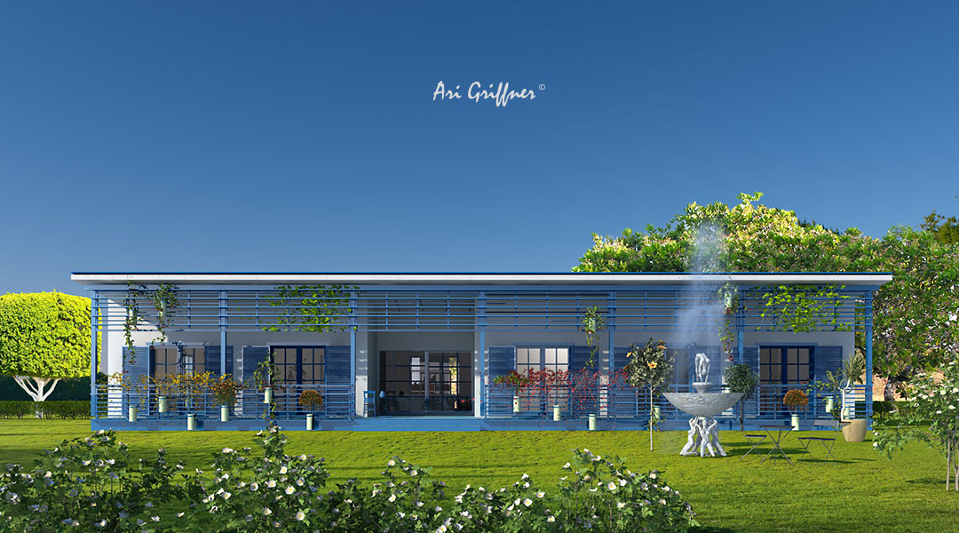 Rendering Special 14 Long House in modernem Design mit Pultdach und symmetrischer Fensteranordnung