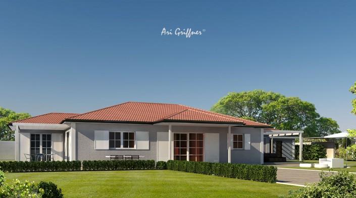 Rendering Terrassenhaus in klassischem Design mit Walmdach und symmetrischer Fensteranordnung