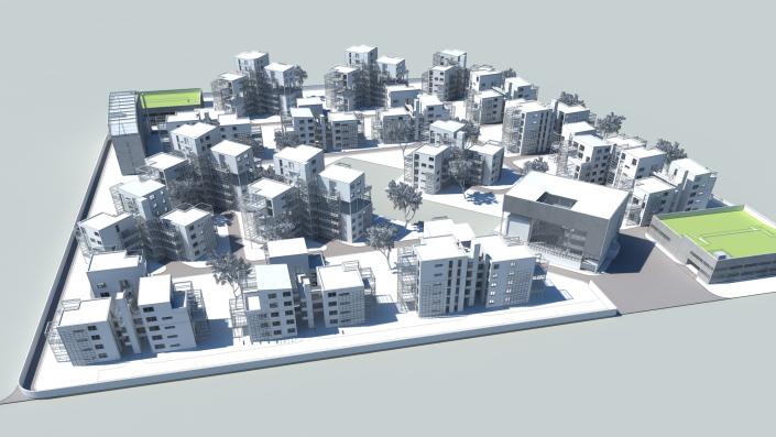 Visualisierung einens Geschossbauhabitats mit mehreren Wohneinheiten, Zentralgebäude und Garagengebäude
