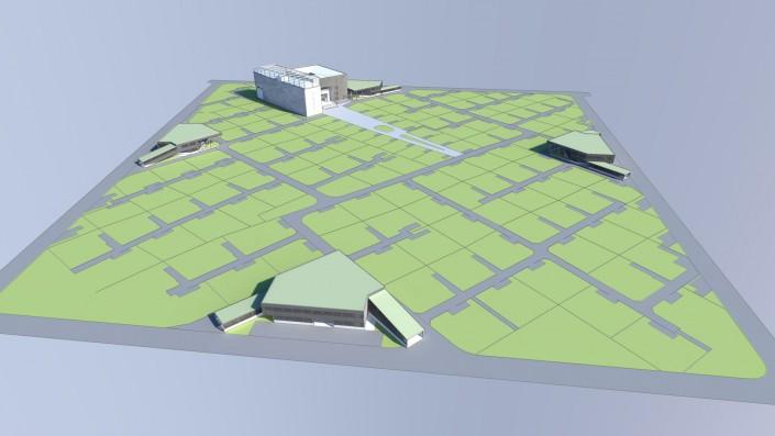Visualisierung Vogelperspektive Einfamilienhaus Habitat Step 1 Zentrales Gebäude Parkdeck ohne Wohneinheiten