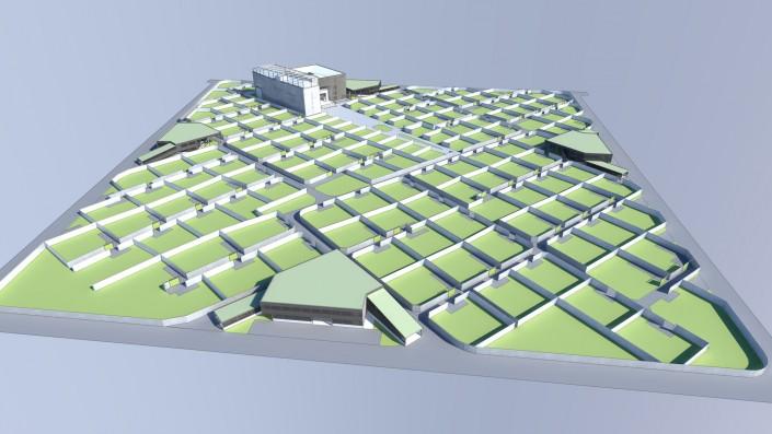Visualisierung Vogelperspektive Einfamilienhaus Habitat Step 1 Zentrales Gebäude Parkdeck ohne Wohneinheiten, mit Zäunen