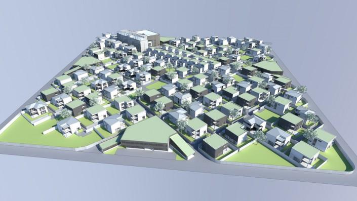 Visualisierung Vogelperspektive Einfamilienhaus Habitat Step 4 mit allen Einfamilienhäusern