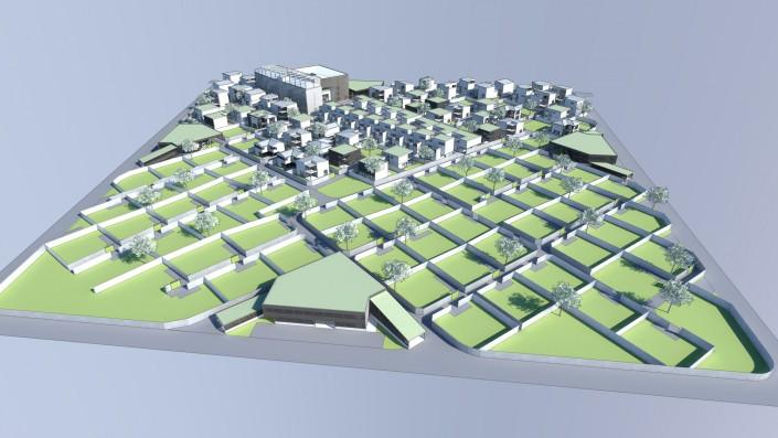 Visualisierung Vogelperspektive Einfamilienhaus Habitat Step 3 im Wachstum befindent mit einigen Einfamilienhäusern