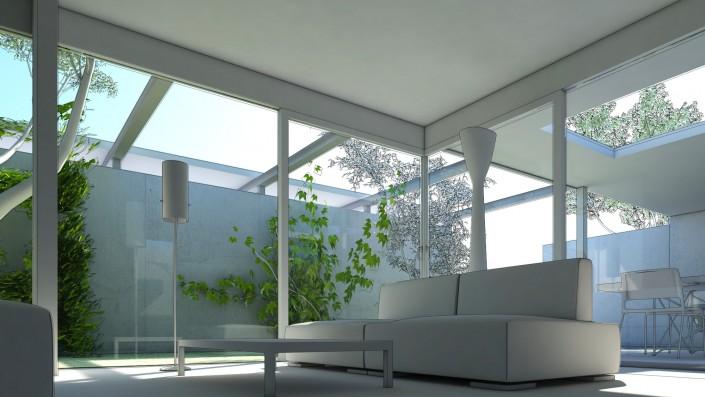 Schematische Visualisierung Microhabitat Wohnzimmer mit Blick aus dem Fenster auf den Betonzaun